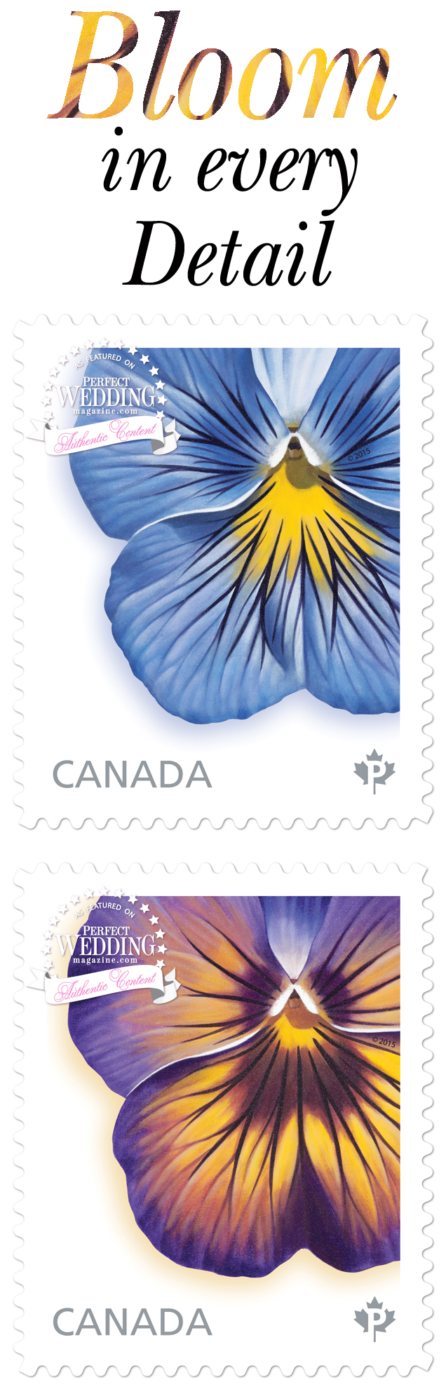 Canada Post, Pansies Stamps, Wedding Invitations, Wedding Stamps, Spring, Stamps