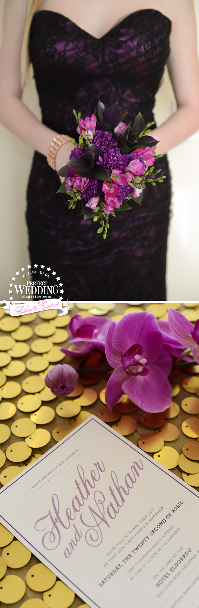 ORCHID VELVET STYLE SHOOT, Perfect Wedding Magazine, Radiant Orchid, Wedding Decor, Wedding Flowers, orchids Weddings, Suzanne Le Stage, Wedding Cakes, El Dorado, Okanagan Weddings ,