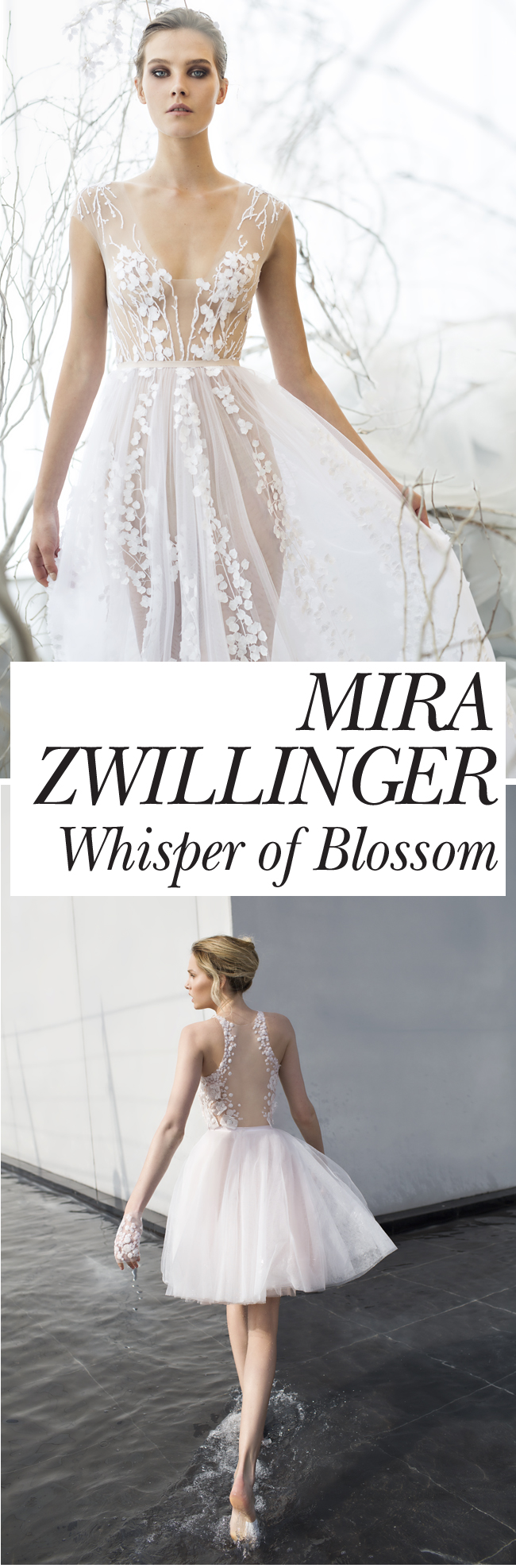 MIra Zwillinger, Whisper Bloom, Bridal Collection, Perfect wedding Magazine, Perfect wedding Blog, Floral Applique, Wedding Gowns
