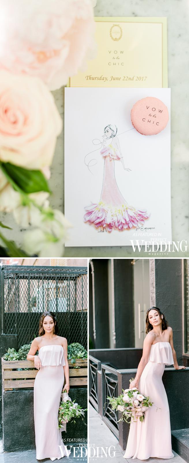 The Glam App, Ladurée SoHo, Perfect Wedding Magazine, Monique Lhuillier, MoniqueLhuillierXVowtobeChic, Vow to be Chic, Cara Santana, Bridesmaieds, Cara dress,