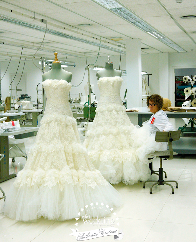 Master Seamstress preparing for the big fashion show at Barcelona Bridal Week