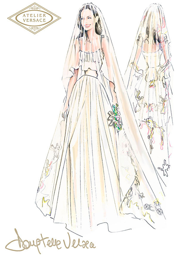 Angelina Jolie Wedding dress sketch