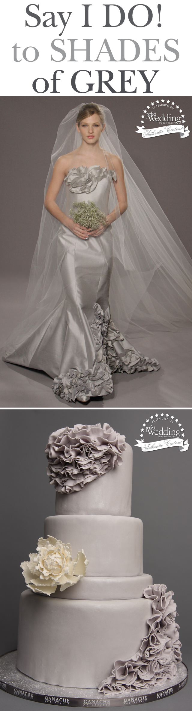 Wedding Cakes, Bridal Couture, Romona Keveza, Fifty Shades of Grey, Perfect Wedding Magazine