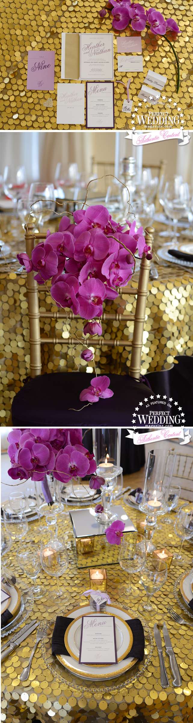 ORCHID VELVET STYLE SHOOT, Perfect Wedding Magazine, Radiant Orchid, Wedding Decor, Wedding Flowers, orchids Weddings, Suzanne Le Stage, Wedding Cakes, El Dorado, Okanagan Weddings ,