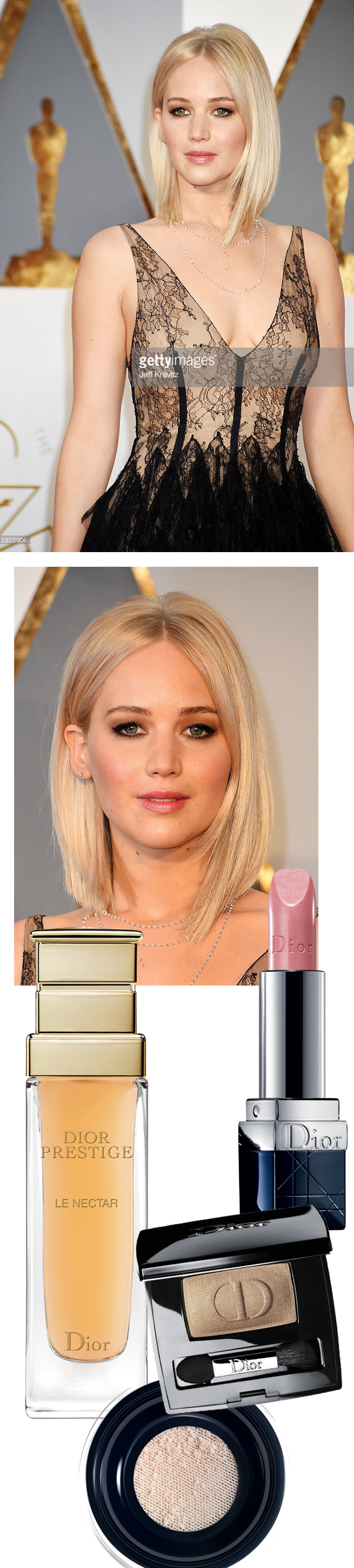 Jennifer Lawrence, Dior Beauty, Oscars 2016, Red Carpet Look, Perfect wedding magazine
