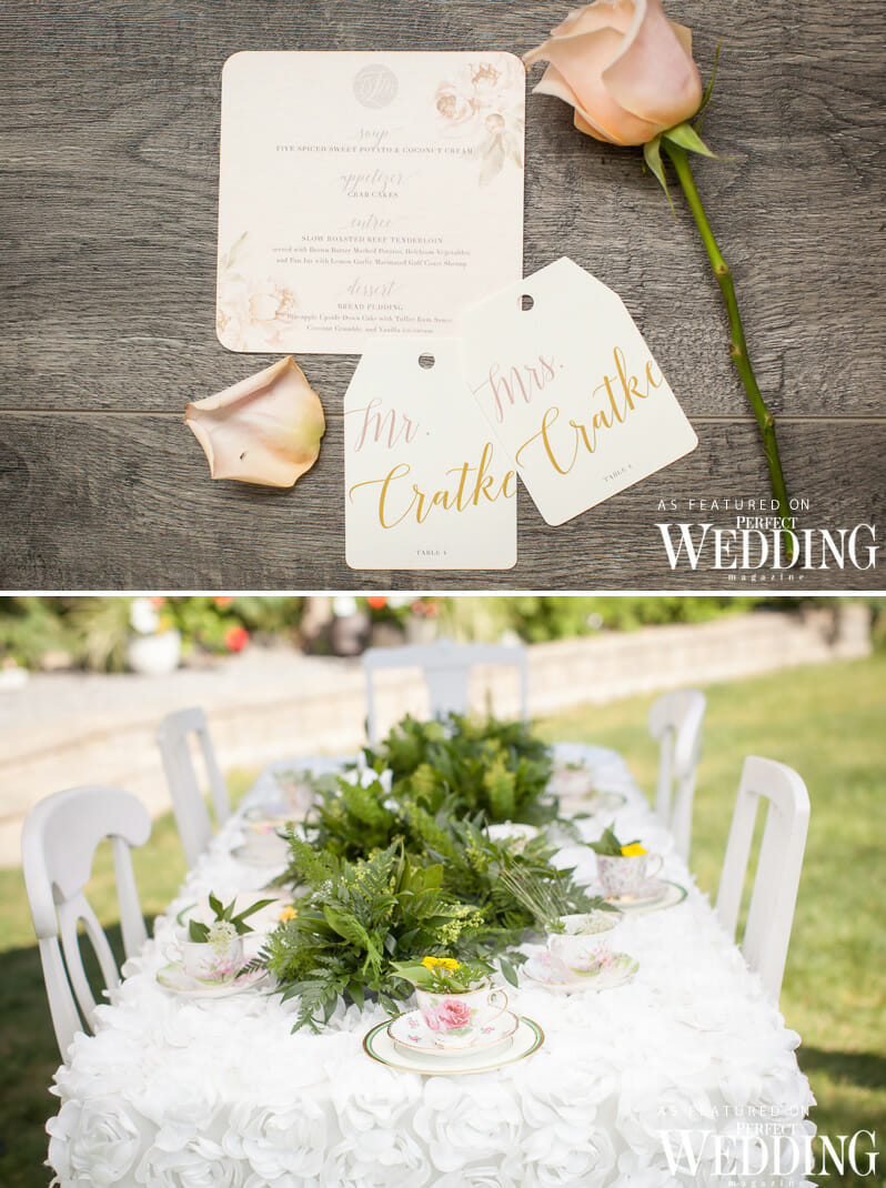Garden Tea Party, Bridal Style Shoot, Garden Wedding, Garden Wedding Decor, Spring Wedding, Wedding Cake, YEG Wedding Vendors, Perfect Wedding Magazine, Perfect Wedding Blog, Rainer Gardens, Wedding Stationery