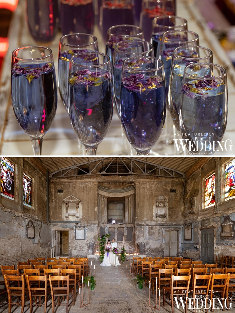 Rock The Purpler Love, UK Wedding Vendors, Bridal Style Shoot, Same Sex Weddings, Ultra Violet Pantone Colour of the Year, Ultra Violet in Weddings, Asylum Chapel, GiDo Weddings, Perfect Wedding Magazine, Pride Month, Perfect Wedding Blog, Wedding Decor Ideas, 2018 Wedding Trends