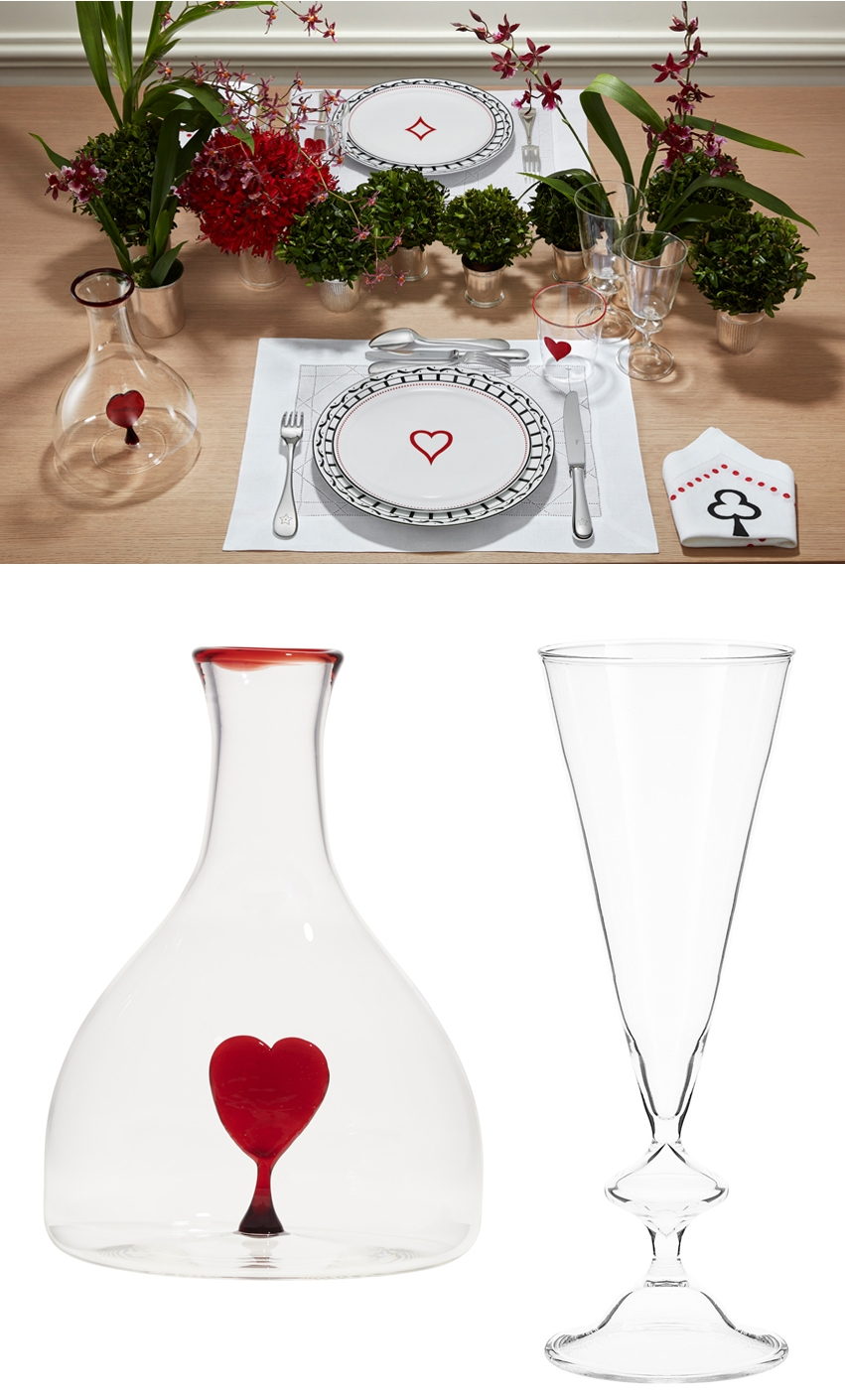 Dior Maison St. Valentine's Day capsule collection Check'n'Dior plate and decanter with heart