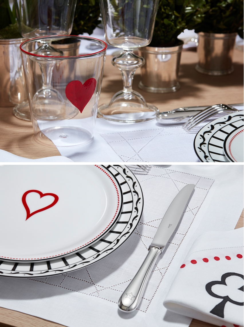 Dior Maison St. Valentine collection mixes Monsieur Dior and Check'n' Dior plates to celebrate love