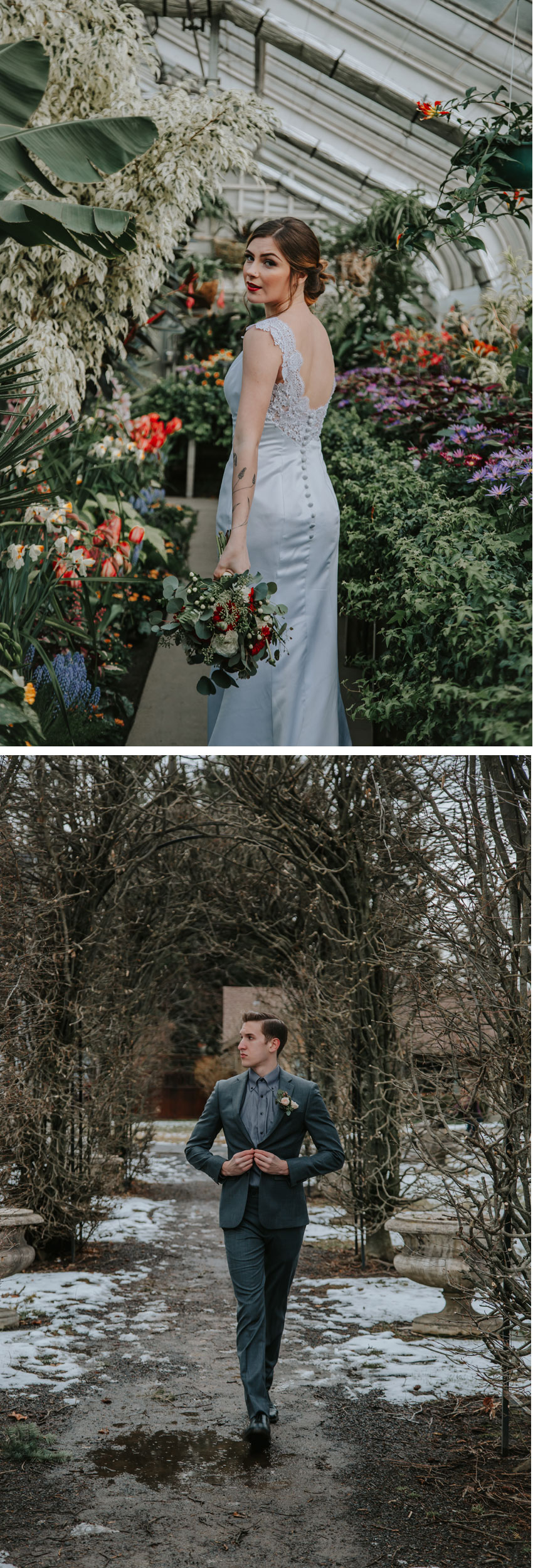 Bride and Groom portraits in a frosted garden