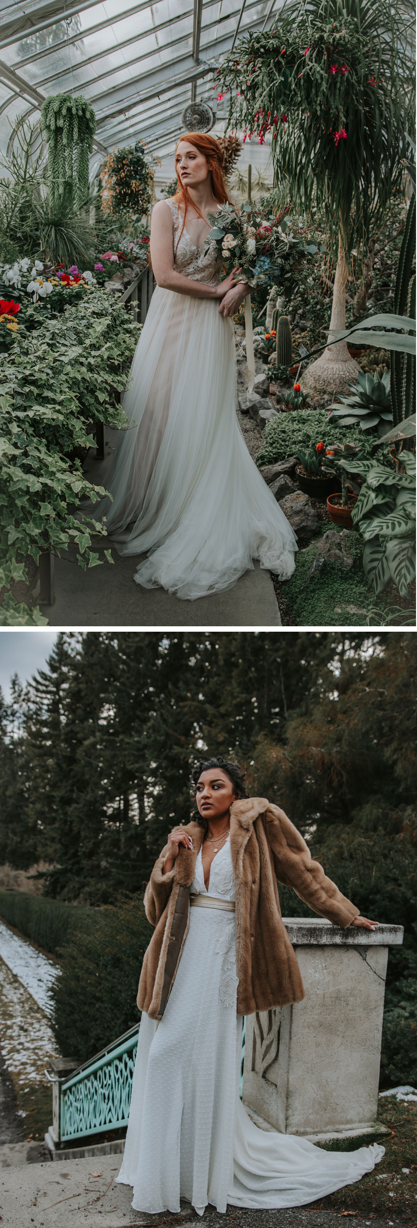 Last frost bridal style shoot in a green house