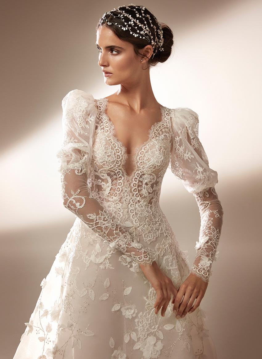 Top Model Blanca Padilla in long sleeve Atelier Pronovias wedding dress Perfect Wedding Magazine