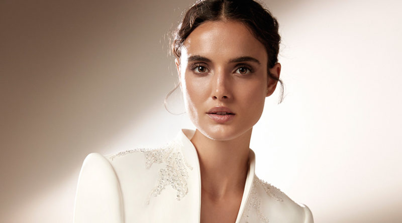 Top Model Blanca Padilla in a tuxedo gown from Atelier Pronovias 2021 Cruise collection perfect Wedding Magazine