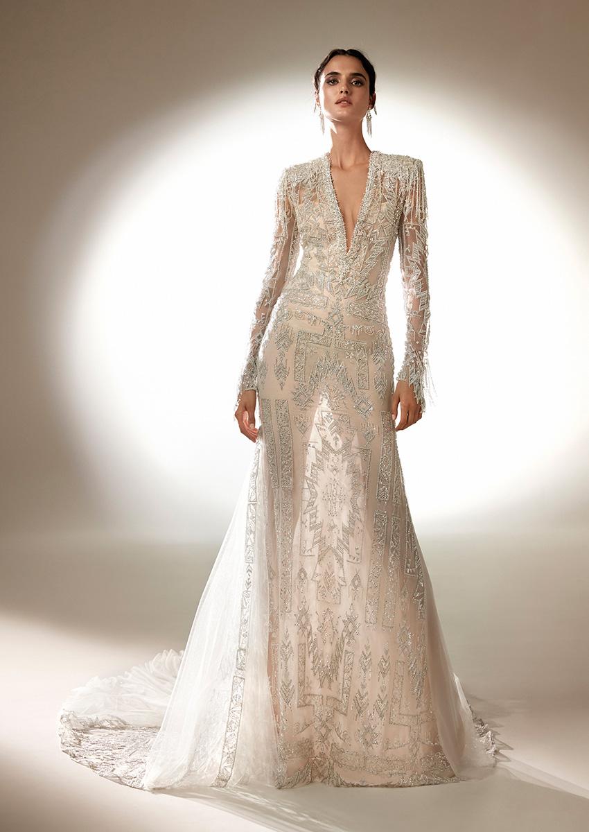 Top Model Blanca Padilla in beaded Atelier Pronovias 2021 wedding dress Perfect Wedding Magazine