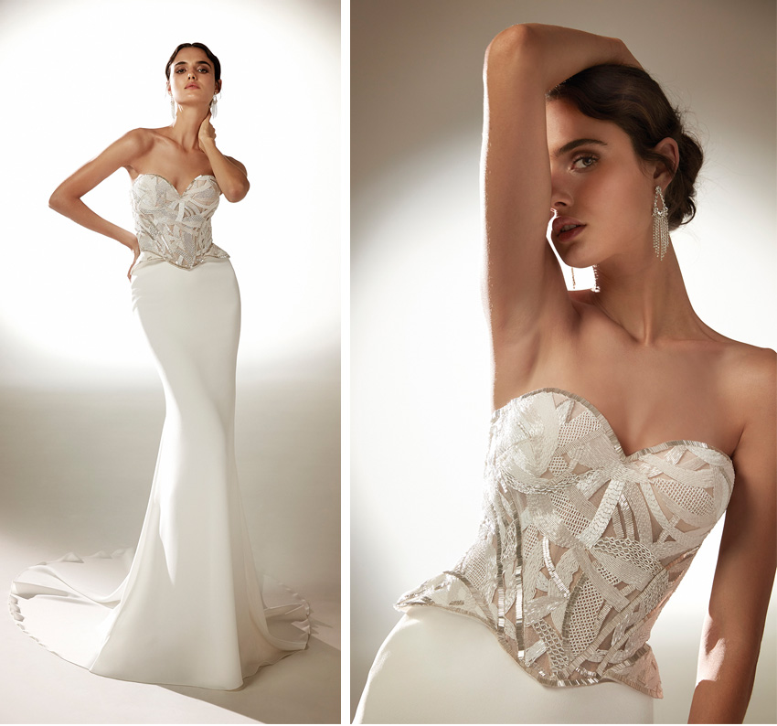 Top Model Blanca Padilla in beaded bustier from Atelier Pronovias 2021 Cruise collection Perfect Wedding Magazine