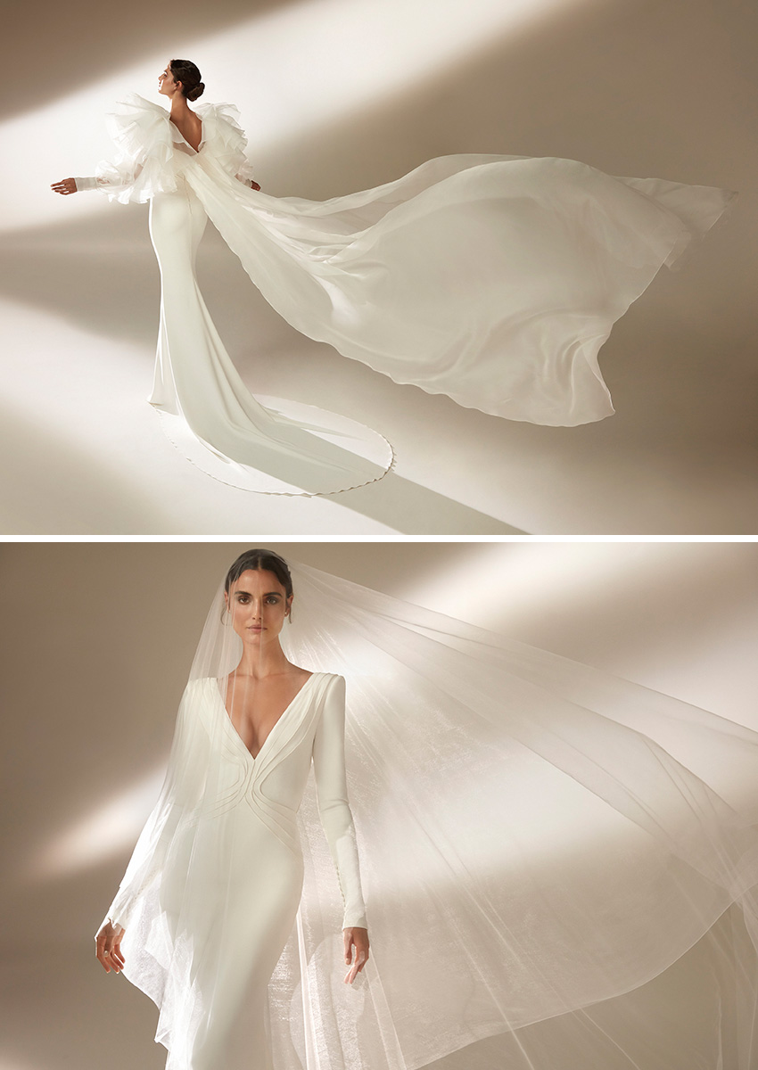 Top Model Blanca Padilla wears longs sleeve Atelier Pronovias Wedding dress 2021 CollectionPerfect Wedding Magazine