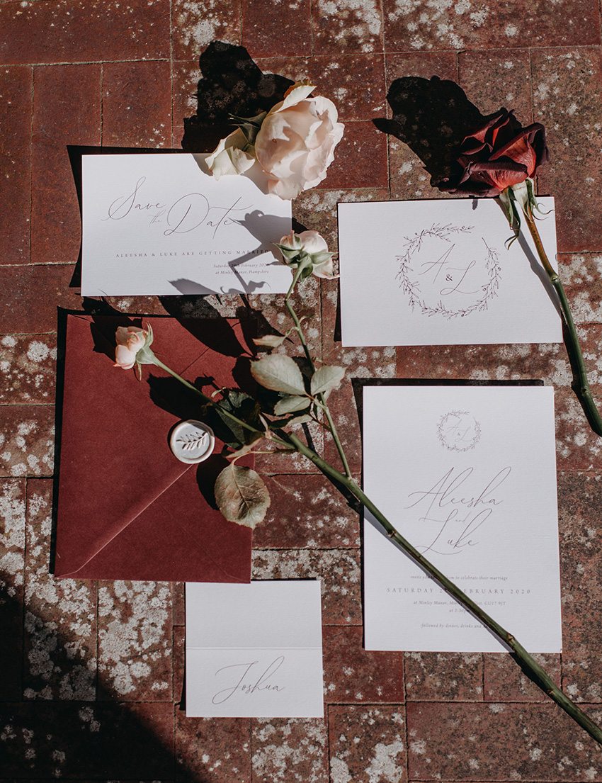 Burgandy and Marsala are the colour theme of this winter wedding style shoot Perfect Wedding Magazine