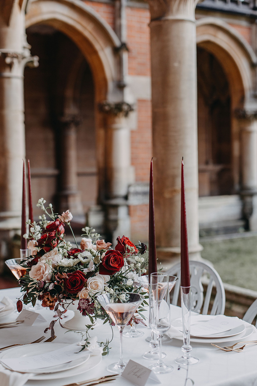 Wedding setting at the Chapel Cloisters in Perfect Wedding Magazine