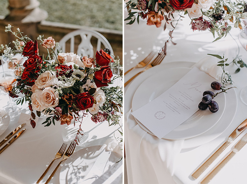 Wedding menus styled with wintery fruits in Perfect Wedding Magazine
