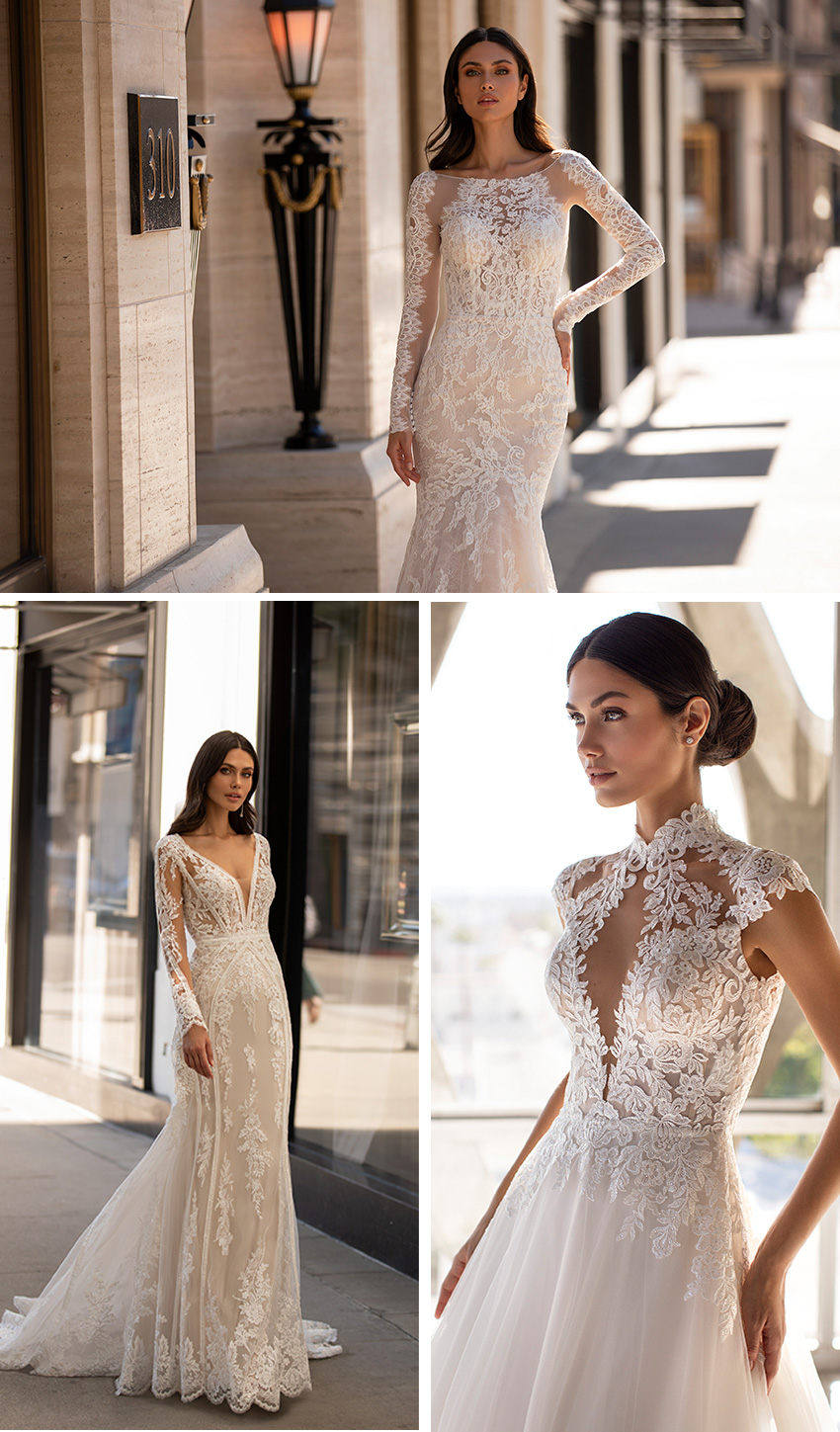Pronovias 2021 Cruise collection inspired in Hollywood's glamour featuring laces in mermaid gowns Perfect Wedding Magazine