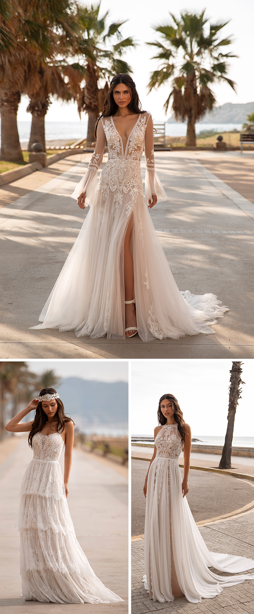 Pronovias 2021 Cruise collection dresses in Guipure and tulle with floral lace Perfect Wedding Magazine