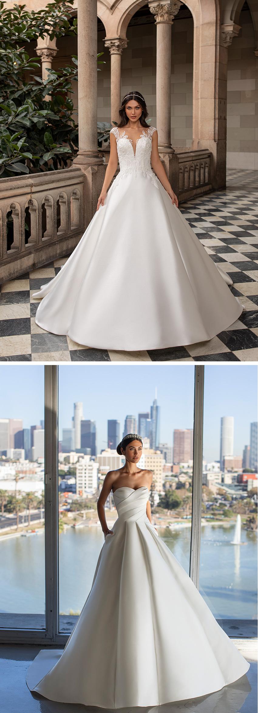 Pronovias 2021 Cruise collection ballgowns with cutting edge necklines Perfect Wedding Magazine