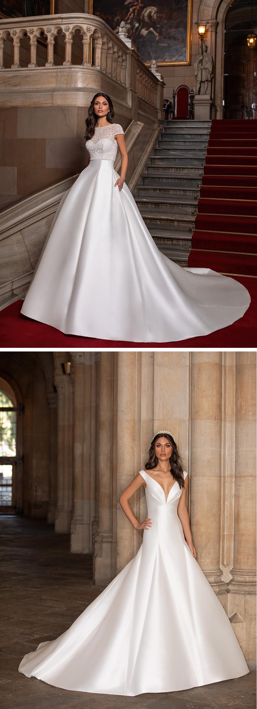 Pronovias 2021 Cruise collection princess wedding gowns in Mikado fabric Perfect Wedding Magazine