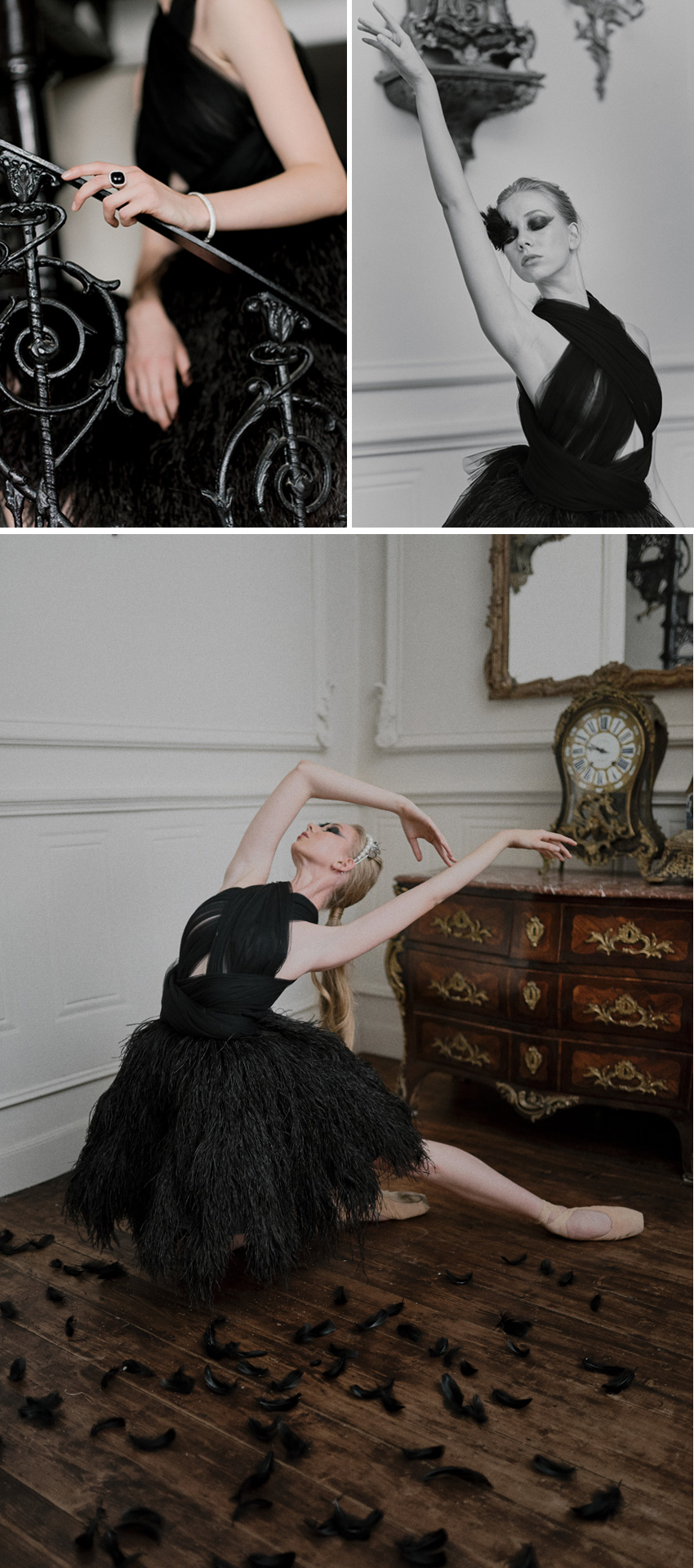 Bride ballerina wears a black feathered gown featured in Perfect Wedding Magazine
