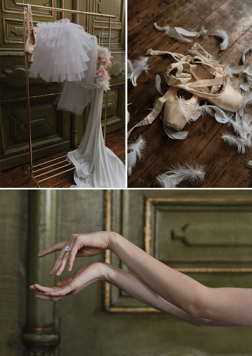 The Bride ballerina transforms into the white swan featured in Perfect Wedding Magazine