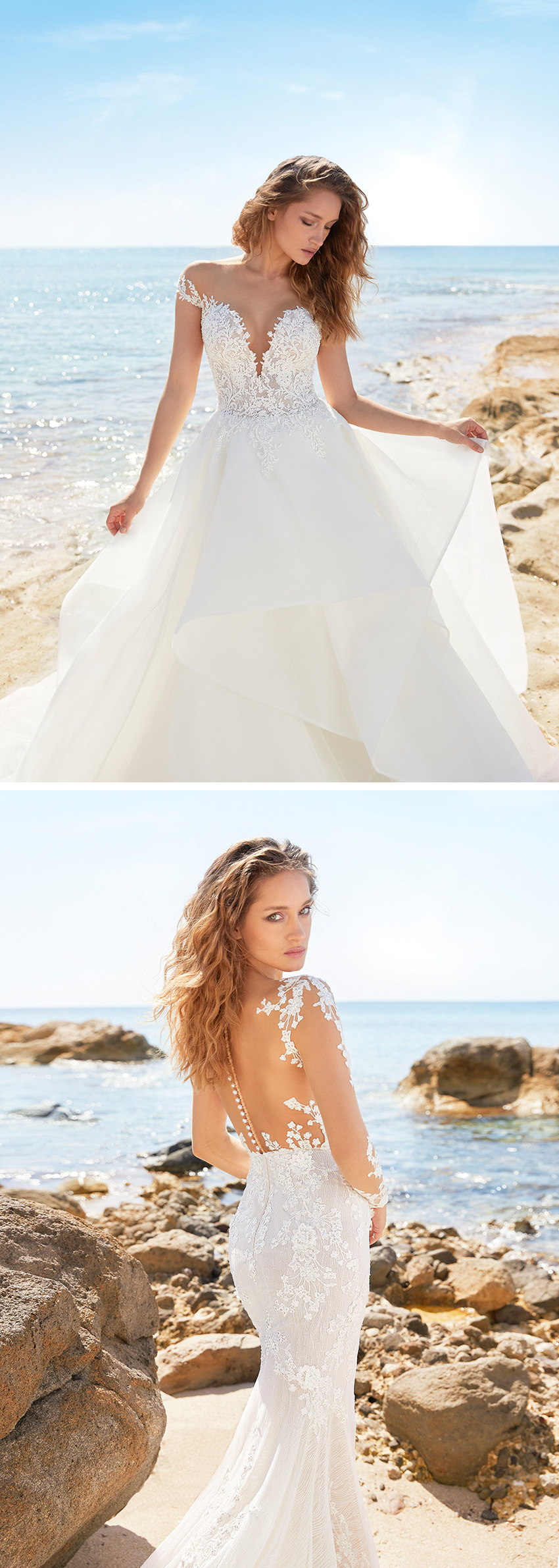 Ines by Ines Di Santo Spring 2021 bridal collection shot in the beach featured in Perfect Wedding Magazine