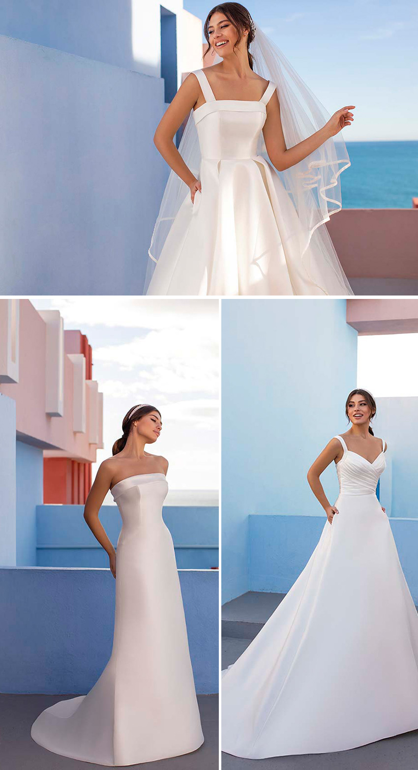 White One new bridal collection DAYDREAM features Classic silhouettes made in Mikado as featured in Perfect Wedding Magazine
