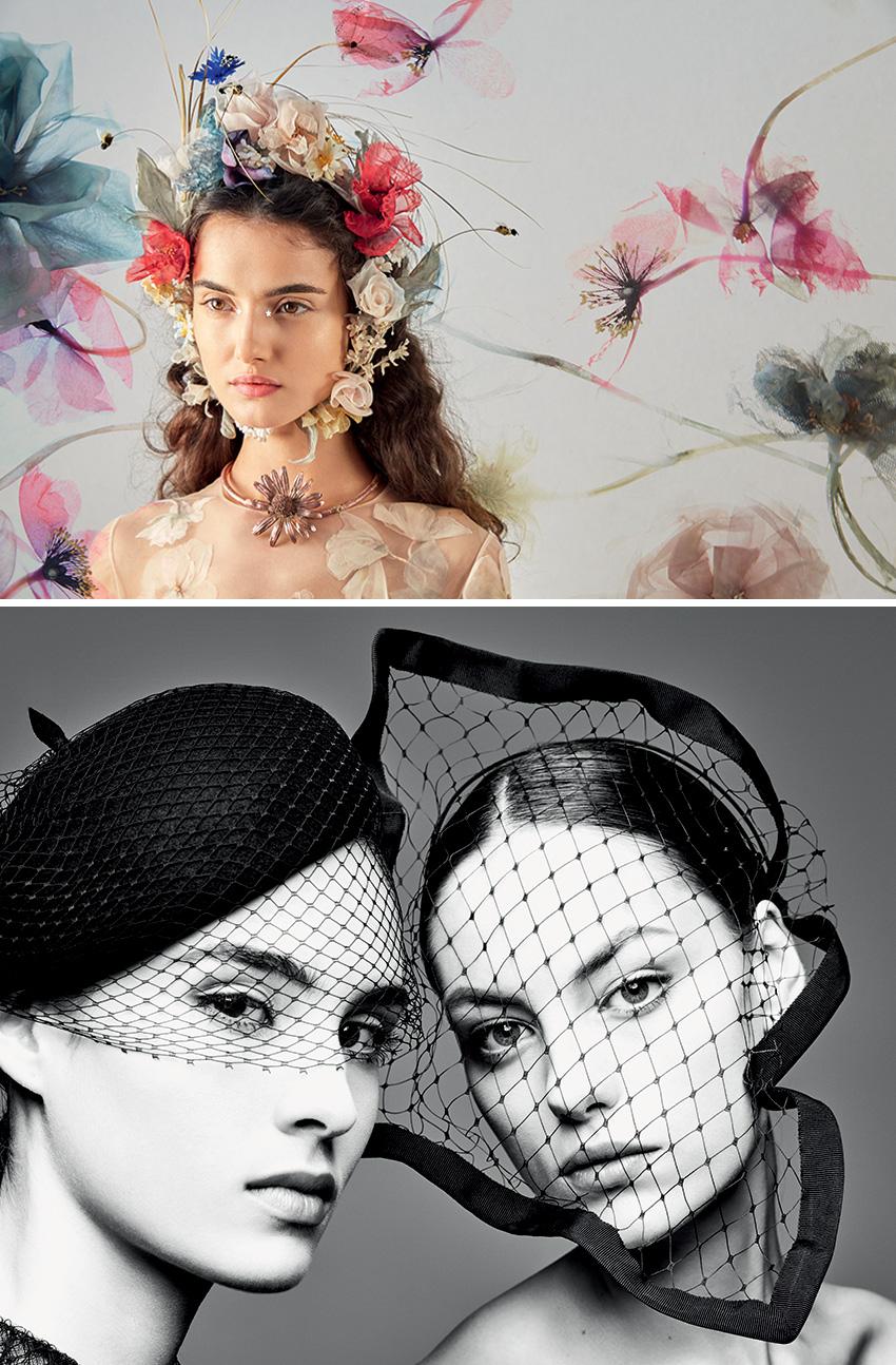 Garland of Silk wild flowers Dior Spring Summer 2017 Haute Couture hat in Perfect Wedding Magazine