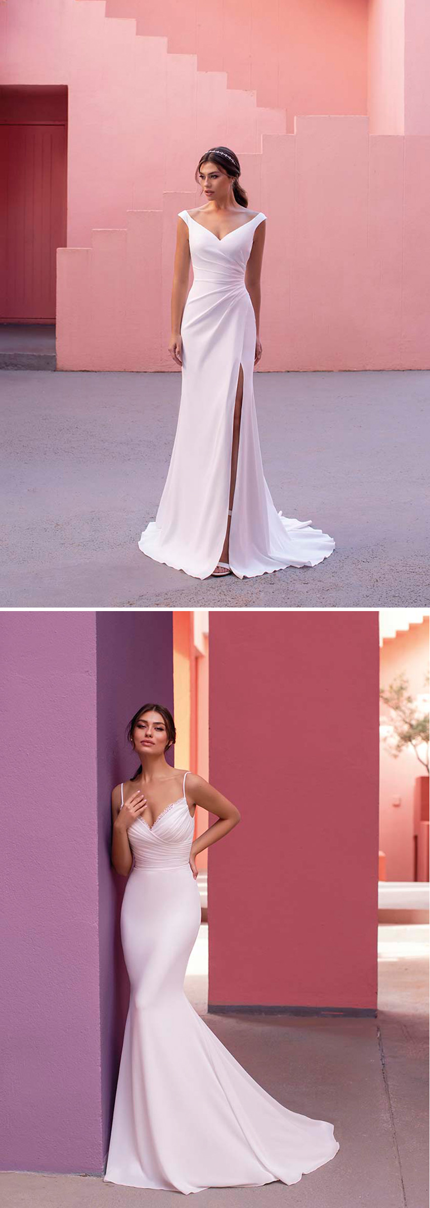 Minimalistic cuts in White One new bridal collection DAYDREAM in Perfect Wedding Magazine