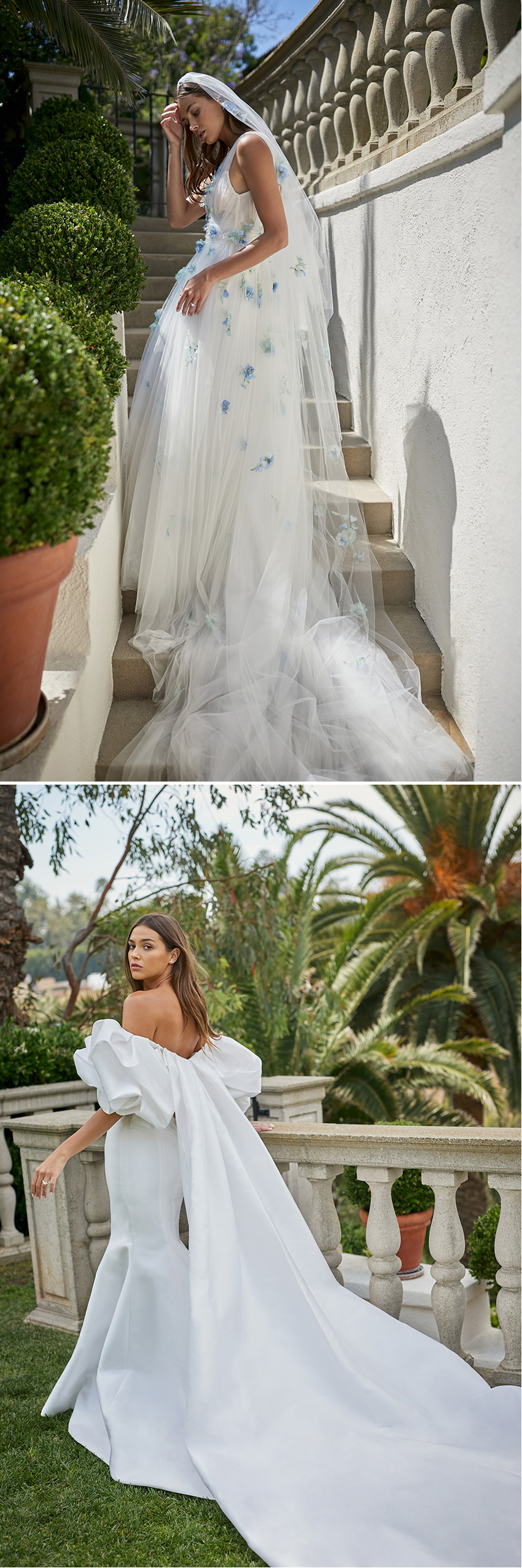 Monique Lhuillier Spring 2021 bridal collection inspired in the feminine Spanish flare featured in Perfect Wedding Magazine