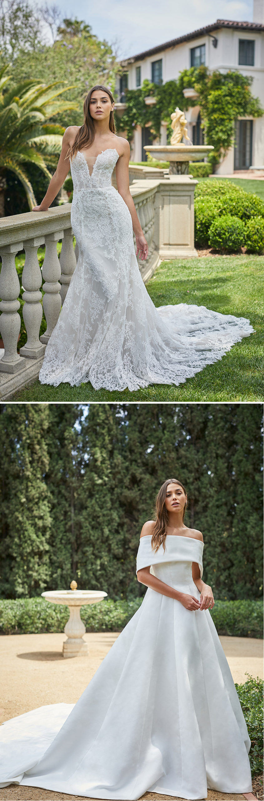 Monique Lhuillier Spring 2021 bridal collection features regal proportions as seen in Perfect Wedding Magazine