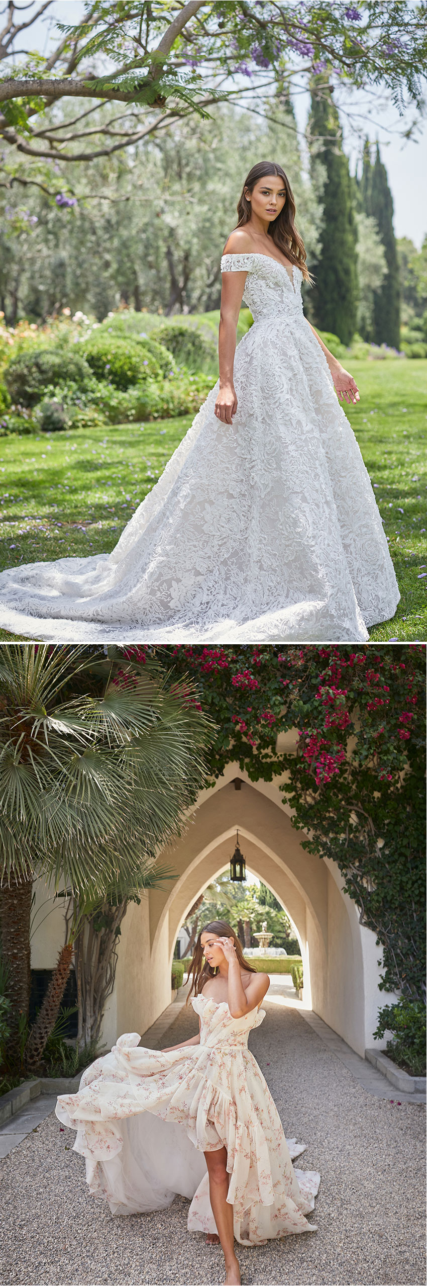 Monique Lhuillier Spring 2021 bridal collection includes voluminous sleeves and deep v-necklines as seen in Perfect Wedding Magazine