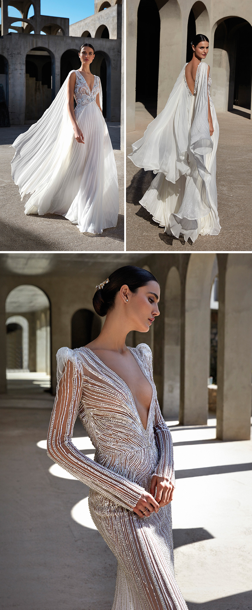 Atelier Pronovias Premiere Haute Couture collection featured pleated Italian fabrics and silk chiffons in Perfect Wedding Magazine