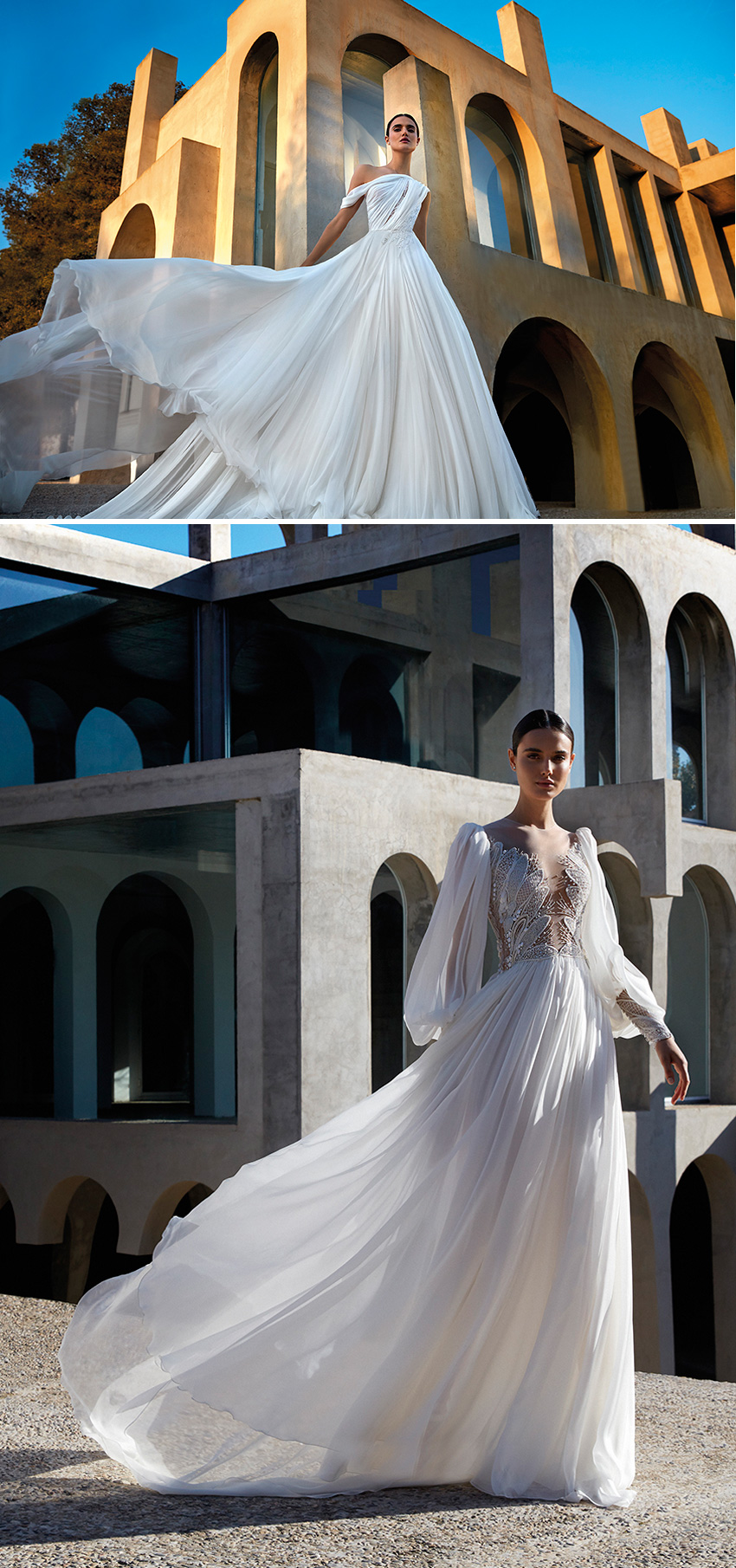 Atelier Pronovias Premiere Haute Couture collection feature spectacular sleeves as featured in Perfect Wedding Magazine