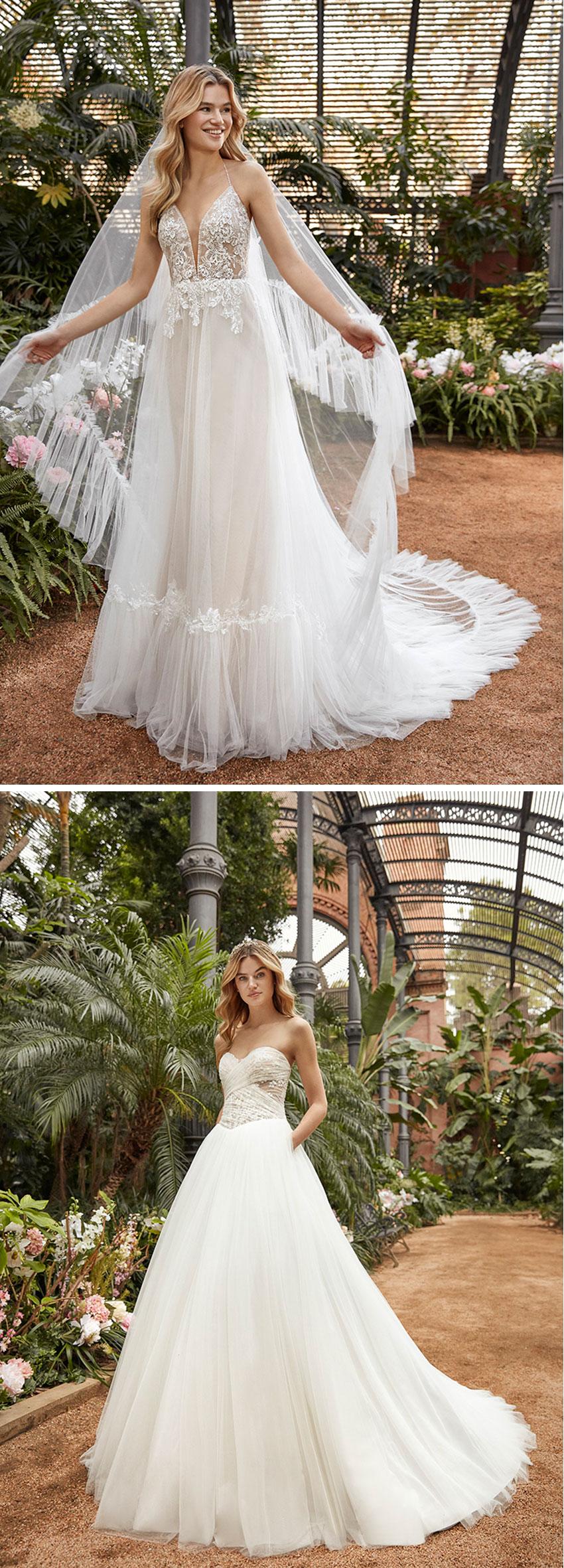 St. Patrick La Sposa 20201 collection features 3D floral appliqué featured in Perfect Wedding Magazine