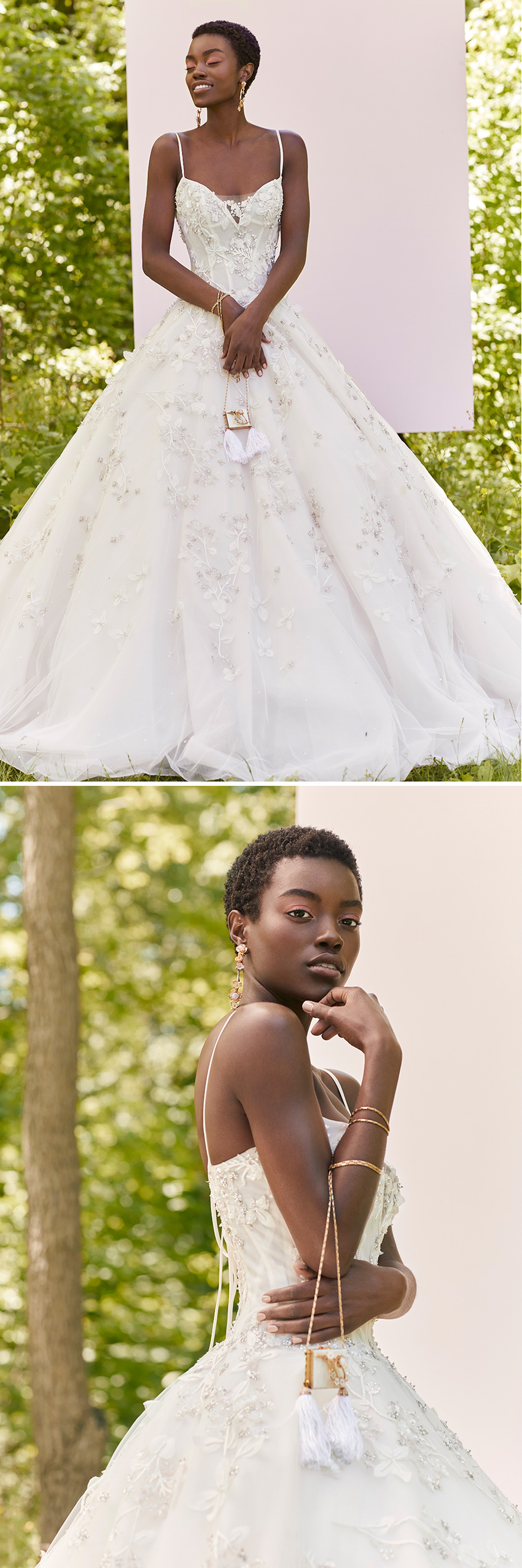 Ines Di Santo Spring 2021 Couture bridal collection include flawless silhouettes that look like they are floating in the air featured in Perfect Wedding Magazine