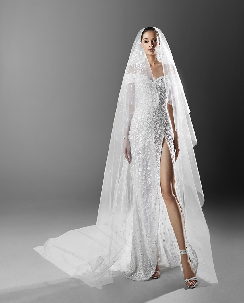 Zuhair Murad Spring 2021 bridal collection are made with exquiste crystal embroideries and shimmering pearls over silk tulle featured in Perfect Wedding Magazine