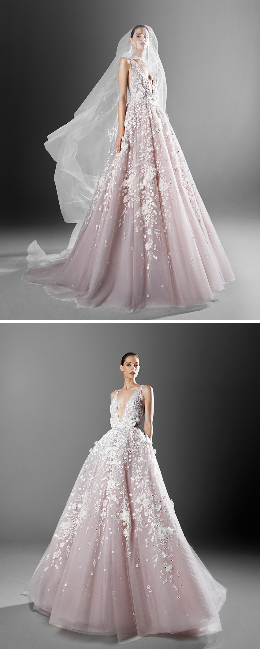 Zuhair Murad Spring 2021 bridal collection includes a colour palette of whites, green mints and soft pinks as featured in Perfect Wedding Magazine