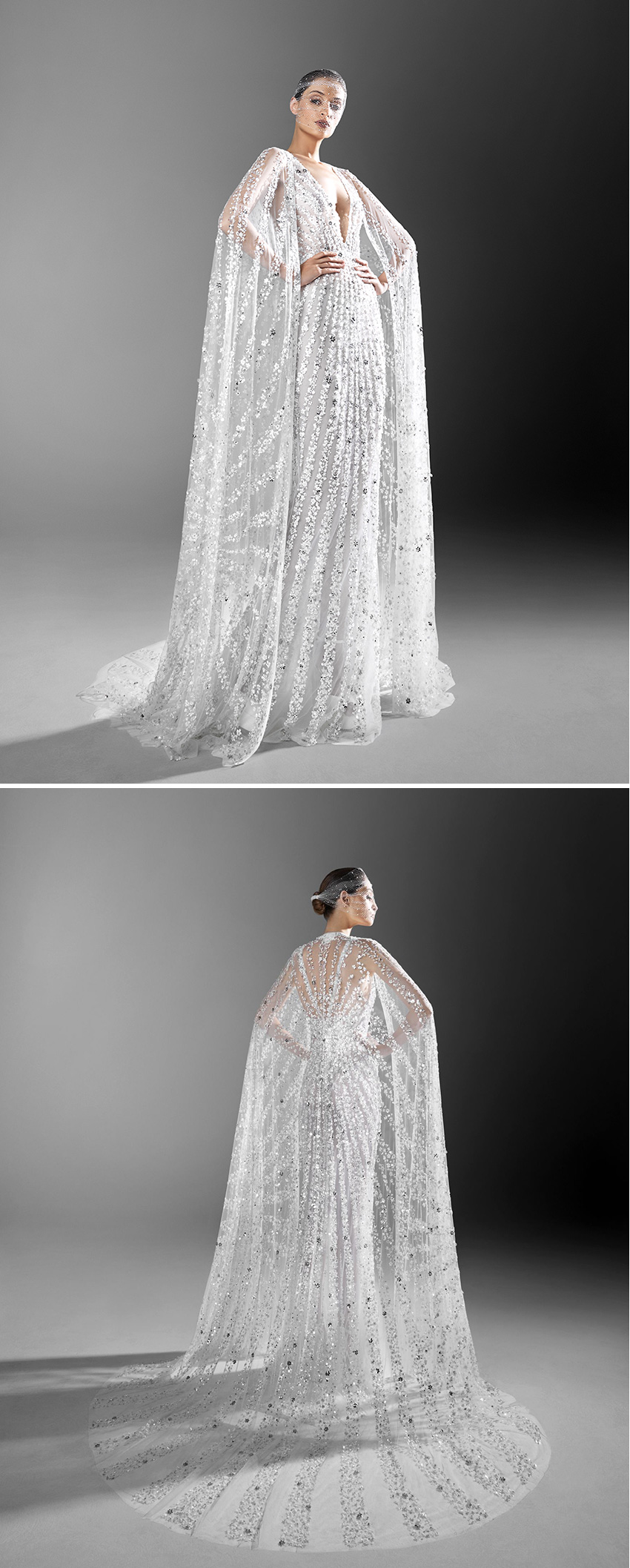 Zuhair Murad Spring 2021 bride is elegantly adorned with crystal embroidered capes featured in Perfect Wedding Magazine