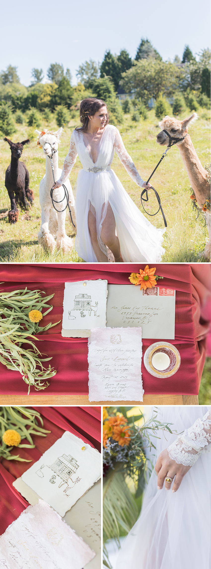 Alpaca Bridal style shoot inspiration featured in Perfect Wedding Magazine