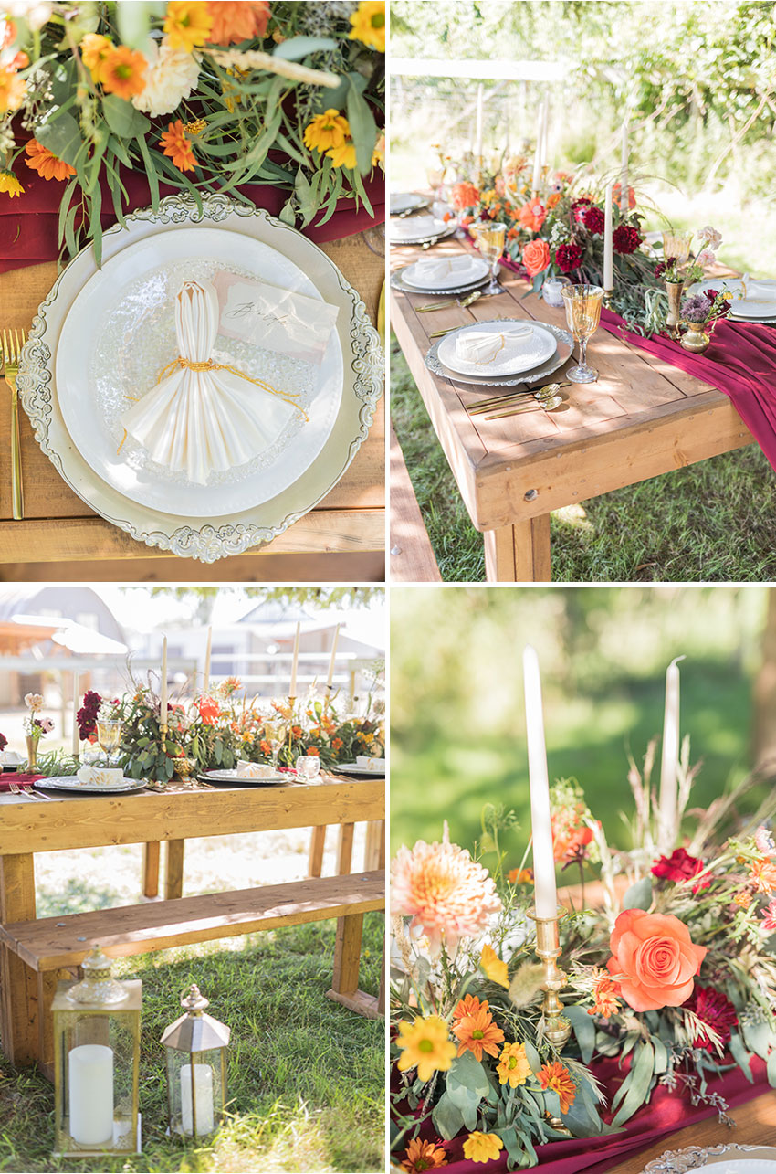 Rustic Wedding with Fall colours featured in Perfect Wedding Magazine