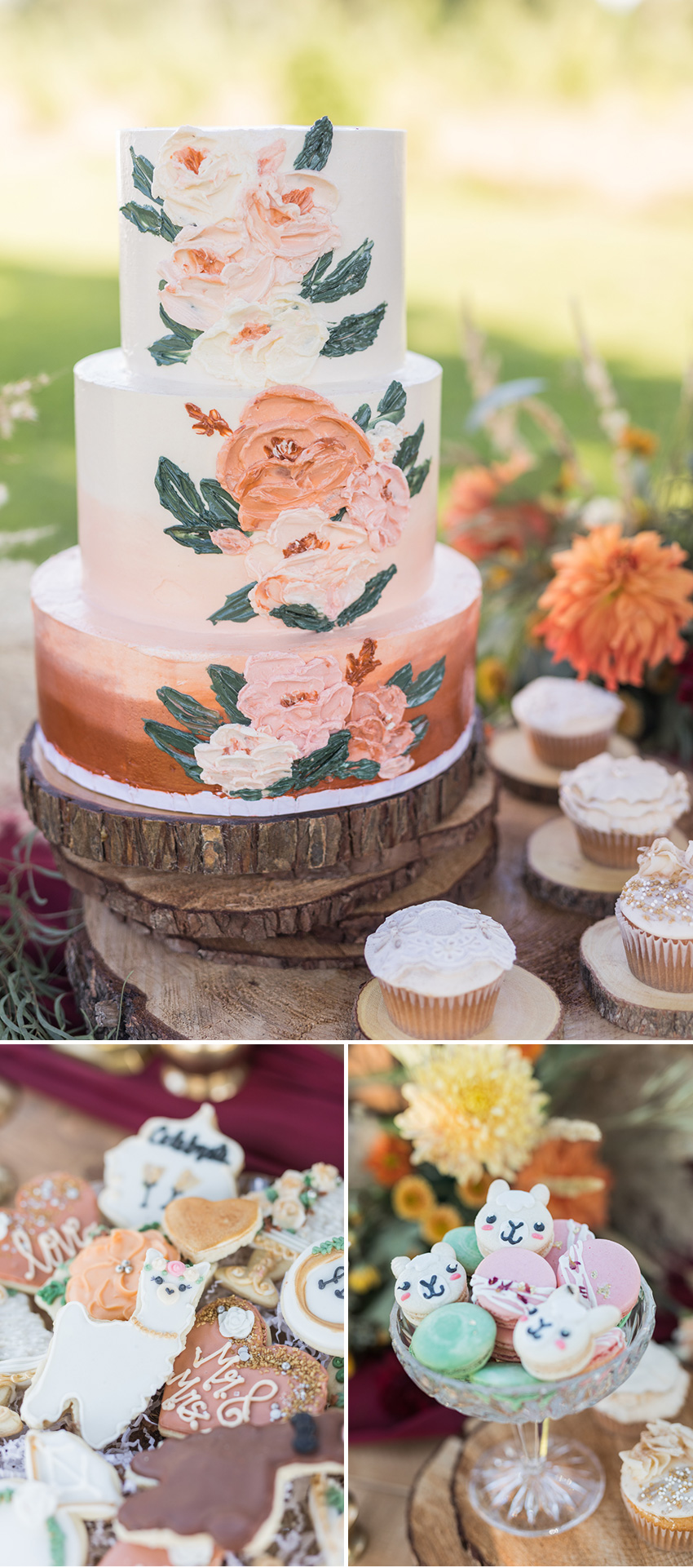 Rustic Wedding Cake and lace decor cupcakes featured in Perfect Wedding Magazine