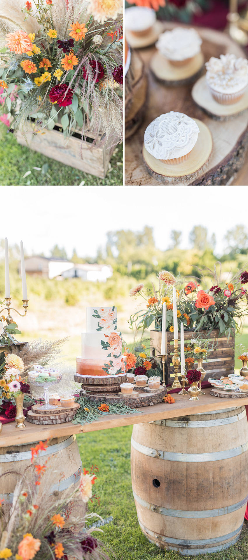 Rustic Wedding Cake table decor in Perfect Wedding Magazine