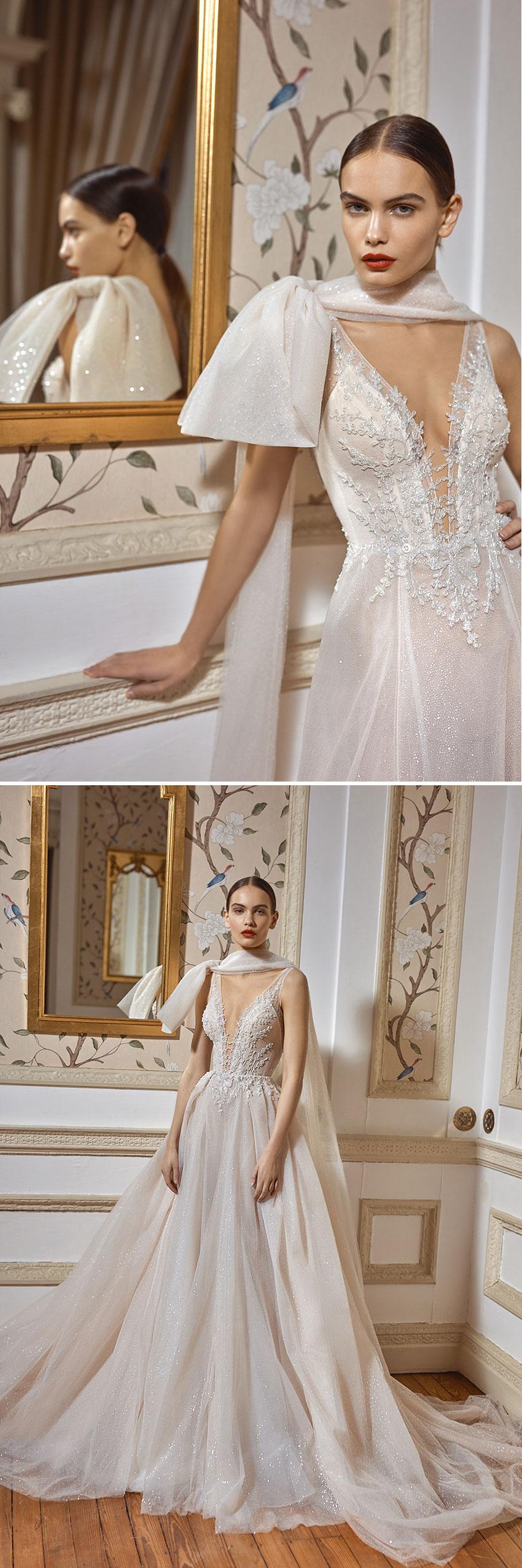 Galia Lahav Fall Winter 2021 Couture collection features capes and dramatic oversized bows featured in Perfect Wedding magazine