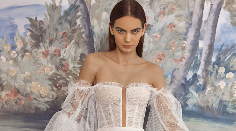 Galia Lahav Fall Winter 2021 Couture Collection includes pleated skirts and embroideries featured in Perfect Wedding Magazine