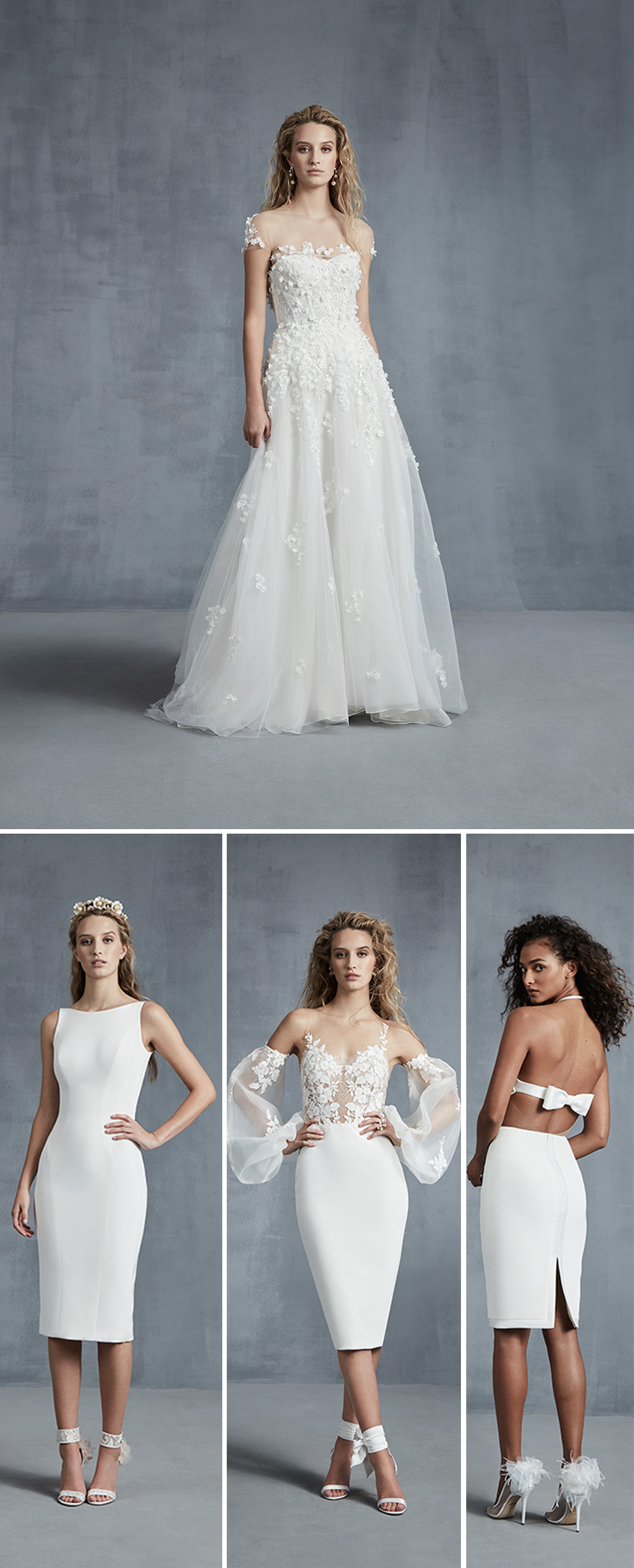 Ines Di Santo Fall 2021 bridal collection in a blush palette with blossoming details featured in Perfect Wedding Magazine